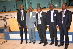 Anciens représentants d'Ibuka Europe: de gauche à droite: Alain Ngirinshuti (Ibuka France), Albert Gakumba (Ibuka Belgique), Pr JP Dusingizemungu (Ibuka Rwanda), François Kayitakire (Ibuka Belgique), Samuel Musabyimana (Ibuka Suisse)